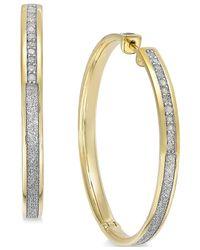 Macy's | Metallic Diamond Hoop Earrings (1/3 Ct. T.w.) In 14k Gold-plated Sterling Silver | Lyst