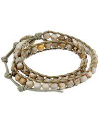 Chan Luu - Metallic 13 1/2' Silver Leaf Jasper/coconut Double Wrap Bracelet for Men - Lyst