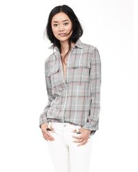 Banana Republic | Gray Soft-wash Open Plaid Shirt | Lyst