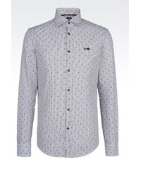 Armani Jeans   Black Slim Fit Cotton Shirt With Logo Pattern for Men   Lyst