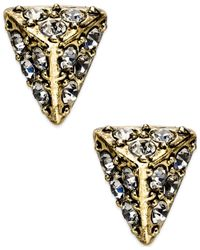 House of Harlow 1960 | Metallic Gold-tone Pavé Triangle Stud Earrings | Lyst