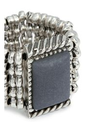 Philippe Audibert | Metallic Square Agate Milgrain Elastic Ring | Lyst