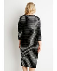 Forever 21 | Black Plus Size Ribbed Knit Stripe Dress | Lyst