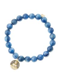 Sydney Evan | Blue 8Mm Kyanite Beaded Bracelet With 14K Gold/Diamond Sitting Buddha Charm (Made To Order) | Lyst