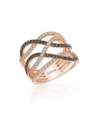 Le Vian | Pink 14k Strawberry Gold Gladiator Weave Ring With Chocolate Diamonds And Vanilla Diamonds | Lyst