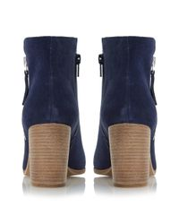 Dune Black | Blue Phollie Block Heeled Suede Ankle Boots | Lyst