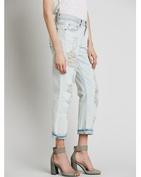 Free People | Blue Nsf Womens Nsf Destroyed Boyfriend Jean | Lyst