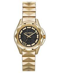 Karl Lagerfeld - Metallic 'karl 7' Pave Dial Faceted Bezel Bracelet Watch - Lyst
