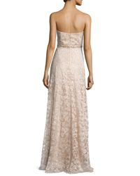 Aidan Mattox - Natural Sweetheart-neck Strapless Lace Gown - Lyst