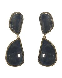 Adornia | Blue Sapphire And Champagne Diamond Uptown Earrings | Lyst