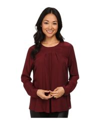 MICHAEL Michael Kors | Red Long Sleeve Pleat Top | Lyst