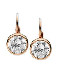 Michael Kors | Metallic Rose Goldtone Clear Stone Leverback Earrings | Lyst