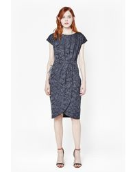French Connection - Gray Shatter Jacquard Satin Dress - Lyst