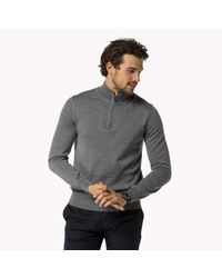 Tommy Hilfiger | Gray Wool Mock Neck Sweater for Men | Lyst