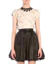 Saint Laurent - Natural Marquise Cutout Embroidered Lace Top - Lyst