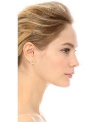 Rebecca Minkoff - White Two Part Imitation Pearl Earrings - Pearl/rhodium - Lyst