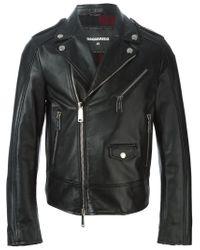 DSquared² | Black Biker Jacket for Men | Lyst