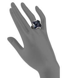 John Hardy - Classic Chain London Blue Topaz Diamond  Sterling Silver Large Braided Ring - Lyst