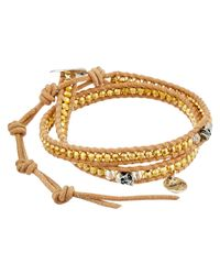 Chan Luu - 12 1/2' Yellow Gold/beige Double Wrap Skull Charm Bracelet - Lyst