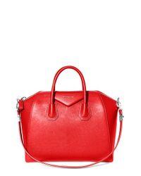 Givenchy - Red 'medium Antigona' Sugar Leather Satchel - Lyst