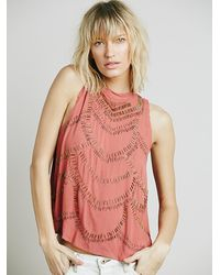 Free People | Red Womens Mock Neck Embellished Tank | Lyst