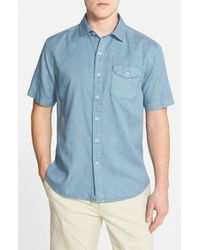 Tommy Bahama - Blue 'pacific Sands' Short Sleeve Oxford Sport Shirt for Men - Lyst