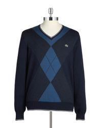 Lacoste | Blue Argyle V-neck Sweater for Men | Lyst