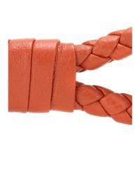 Bottega Veneta | Orange Knot Woven Leather Bracelet | Lyst