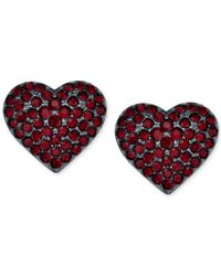Michael Kors | Red Gunmetal-Tone Heart Stud Earrings | Lyst