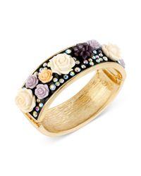 Betsey Johnson - Black Goldtone Flower and Crystal Hinged Bangle Bracelet - Lyst