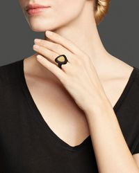 Roberto Coin - Metallic 18K Yellow Gold Plated Ring With Brown Diamonds - Lyst