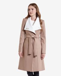 Ted Baker - Natural Long Wool Wrap Coat - Lyst