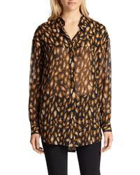 DKNY | Black Animalprint Silk Chiffon Blouse | Lyst