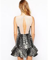 StyleStalker - Multicolor Rumor Has It Pep Hem Dress In Animal Print - Lyst