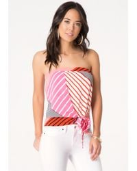 Bebe - Pink Print Draped Front Tube Top - Lyst