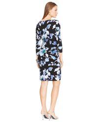 Lauren by Ralph Lauren | Black Floral-Print Cowl-Neck Dress | Lyst