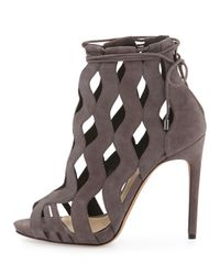 Alexandre Birman - Gray Loretta Wave-caged Laced-ankle Bootie - Lyst