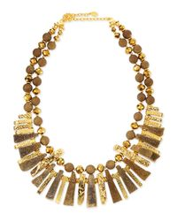Jose & Maria Barrera | Metallic Gold-plated & Druzy Spike Necklace | Lyst