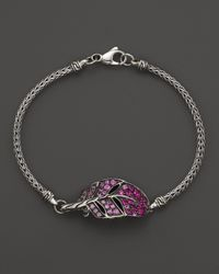 John Hardy | Metallic Classic Mini Chain Silver Lava Bracelet With Mixed Pink Sapphire Feather - Bloomingdale's Exclusive | Lyst