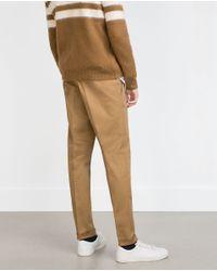Zara | Natural Belt Loop Trousers for Men | Lyst