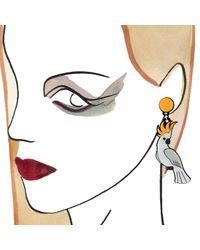 Yazbukey   Yellow White Parrot Earrings   Lyst