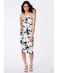 Missguided | Black Ybanez Monochrome Palm Print Midi Dress | Lyst