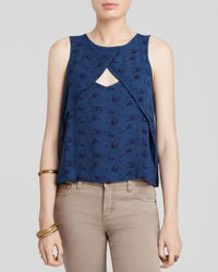 Free People | Blue Crinkle Printed Look Through Top | Lyst