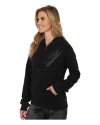 Nike | Black Rally Full-zip Matte Hoodie | Lyst