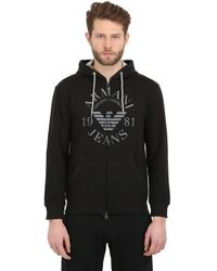 Armani Jeans | Black Cotton Fleece Hooded Zip Up Sweatshirt for Men | Lyst