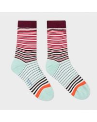 Paul Smith | Blue Women's Red And Mint Green 'mainline Stripe' Socks | Lyst