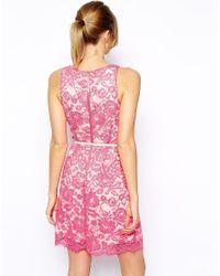 Oasis - Pink Lace Lantern Dress - Lyst