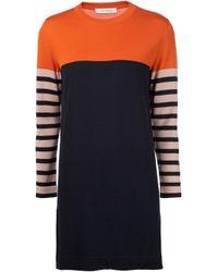 Cedric Charlier | Blue Striped Knit Dress | Lyst