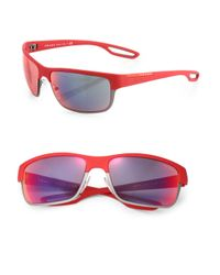 Prada - Red 64Mm Rubber Square Sunglasses - Lyst