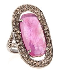 Bavna | Metallic Ruby Diamond Oval Ring | Lyst